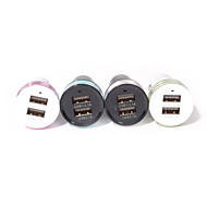 Dual-USB Car Cigarette Lighter Power Adapter for Smartphones and Tabs (Assorted Colors)