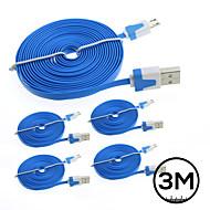 5x 3m micro plana cabo do carregador de dados USB