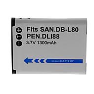 1300mAh kamera batteri för db-L80-s / d-LI88