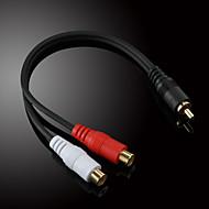 jsj® 0.2m 0.656ft rca hann til 2x rca kvinnelig lyd videokabel svart for musikkopptak