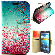 Beautiful Peach Blossom Pattern with Card Bag Full Body Case for Samsung Galaxy S3 I9300