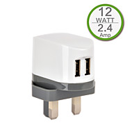 CE-certifierad dubbla USB väggladdare, uk plugg, 5v 2.4a utgång, för iphone 5 iphone 6 / plus, ipad luft, iPad Mini, ipad4