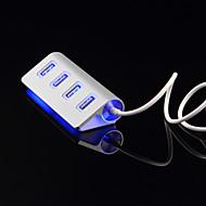 4 Ports LED USB HUD Splitter USB Port High-Speed Aluminium Power-Bus For Computer Peripherals