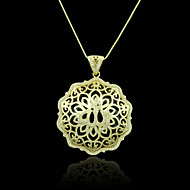 18K Real Golden Plated Allah Muslim Islamic Heart Zircon Micro-Inclosed Hollow Out Pendant