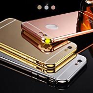 Yeni lüks kaplı alüminyum metal çerçeve + ayna iphone6plus 5.5inch için akrilik arka kapak kabuk durumda