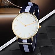Men's Colorful Fabric Strap Slim Case Simple Design Quartz Casual Watch
