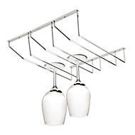 rustfrit stål hængende vinglas rack indehaveren bæger vin cup opbevaring rack (tre række)