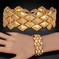Damen Ketten- & Glieder-Armbänder Vintage Armbänder Strass Platiert vergoldet 18K Gold Aleación Dreiecksform Golden Schmuck FürHochzeit