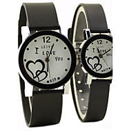 Couple's Causal Style Round Dial Black Rubber Band Quartz Wrist Watch
