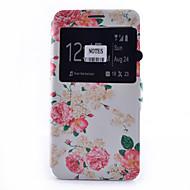 Varten Samsung Galaxy Note Korttikotelo / Tuella / Ikkunalla / Flip / Kuvio Etui Kokonaan peittävä Etui Kukka Pehmeä Tekonahka Samsung