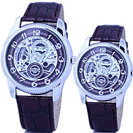 Couple's Fashion And Casual PU Leather Strap sliver Dial hollow quartz watch Cool Watches Unique Watches