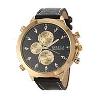JUBAOLI 男性 軍用腕時計 リストウォッチ クォーツ レザー バンド ブラック
