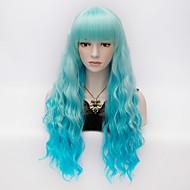 női divat göndör haj hosszú kék színátmenet teljes bumm női paróka