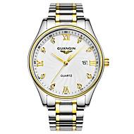 GUANQIN 남성 손목 시계 모조 다이아몬드 시계 달력 방수 석영 스테인레스 스틸 밴드 실버