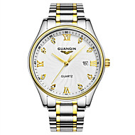 GUANQIN 男性 リストウォッチ ダミー ダイアモンド 腕時計 カレンダー 耐水 クォーツ ステンレス バンド シルバー