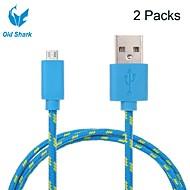 2 pakcs 2m 6ft micro USB-laddning och data synkroniseras sladd kabel tyg flätade vävd för samsung HTC Android-enheter