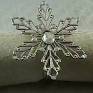 floco de neve de metal anel de guardanapo, ferro, 1.77inch, conjunto de 12