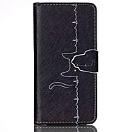 Линия кот шаблон PU кожаный чехол с слот для карт и стоять Samsung Galaxy S4 мини / s3mini / s5mini / S3 / S4 / S5 / S6 / s6edge +