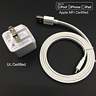 UL certified Travel Wall Charge 1A/2.1A Double output + Apple MFi Certified Lightning Falt cable For iPhone 6 iPad iPod