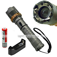 LED懐中電灯 (防水 / 充電式 / 耐衝撃性 / ストライクベゼル / 戦術的な / 緊急) - LED 5 モード 1200 ルーメン 18650 Cree XM-L T6 バッテリー / AC充電器 -キャンプ/ハイキング/ケイビング / 日常使用 /