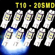 10 PCS Xenon White Wedge T10 20-SMD LED Light bulbs W5W 2825 158 192 168 194 12V