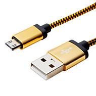 1m 3.28ft aluminium + pvc USB 2.0-kabel voor Samsung mobiele telefoon
