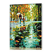 diy digitaal olieverfschilderij kader familie plezier schilderij helemaal zelf stemming met regen weg x5046