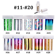 10pcs Nail Art Transfer Foil Sticker Paper with 1pcs Nail Foil Glue (#11-#20)