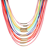 Dame Kort halskæde Halskæder med flere lag Perlehalskæde Perle Læder Harpiks Legering Imiteret Perle Mode Farverig Flerlags Personaliseret