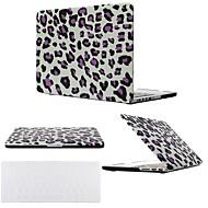 """2 az 1-ben fekete / lila leopárd kemény műanyag tok a MacBook Pro 13 """"/ 15"""" átlátszó billentyűzet fedél"""