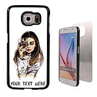 caixa personalizada - a menina com caixa de vidro de vinho design de metal para Samsung Galaxy S6 / S6 edge / nota 5 / a8 e outros