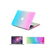 """3 """"macbook air 11"""" pro 13 """"/ 15 1 gökkuşağı renkli kauçuk zor durumda kapak + klavye kapağı + ekran koruyucusu olarak"""