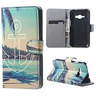 plage et ancrer magnétique PU portefeuille en cuir pleine bascule boîtier de corps avec support pour Samsung Galaxy ACE J1 J110