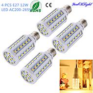 YouOKLight® 4PCS E27 12W 1000lm CRI>80 3000K 60*SMD5050 LED Light Superior quality Corn Bulb (AC200-265V)