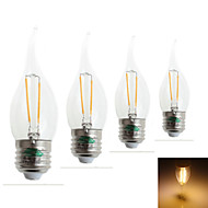 Zweihnder E27 2W 180LM 3000-3500K LED Tungsten Filament Core Warm Light Candle Light(AC 220-240V,4Pcs)