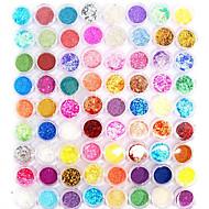 Nail Jewelry 72 Color Super Bright Flash Powder (1Set =72).