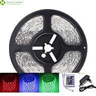 5M 75W 300x5050 SMD LED DC12V IP68 Waterproof Strip Light + 24Key Remote Control RGB + 12V 2A power AC100-240V