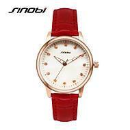SINOBI 女性用 ファッションウォッチ カレンダー 耐水 クォーツ レザー バンド エレガント腕時計 レッド