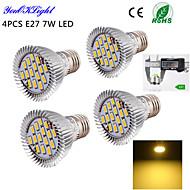 7W E26/E27 LED-spotlampen A50 15 SMD 5630 600 lm Warm wit Decoratief AC 220-240 / AC 110-130 V 4 stuks