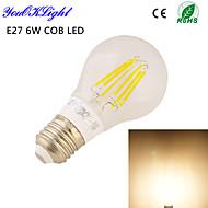 Lampadine globo 6 COB YouOKLight B E26/E27 6 W Decorativo 650 LM Bianco caldo 1 pezzo AC 220-240 / AC 110-130 V