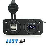 5V 3.1AデュアルUSB充電ポートとバイクオートバイ車のRVのボートのための12 - 24Vの電圧計ソケットはiztoss