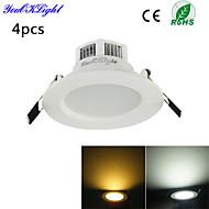 YouOKLight® 4PCS 3W 3000K/6000K 300lm Warm White/Cool White  LED Ceiling Light Lamp (AC110-120/220-240V)
