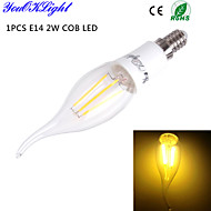 YouOKLight® E14 4W 4xCOB 400LM Warm White Edison High quality Candle Bulbs LED Filament Light AC110-120V/220-240V