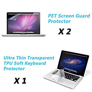 "Ultra Thin Transparent TPU Soft Keyboard Protector Cover + Protective Clear Screen Guard for 13.3""/15.4"" MacBook Pro"