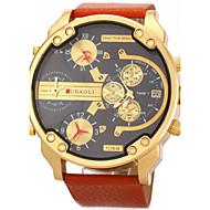 JUBAOLI 男性 軍用腕時計 リストウォッチ カレンダー 2タイムゾーン クォーツ レザー バンド ラグジュアリー ブラック 白 オレンジ