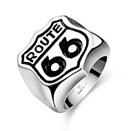 Fashion Simple No Decorative Stone Men's Stoving Varnish Double Six Stainless Steel Ring(Black)(1Pc)