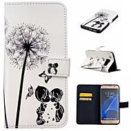 Käyttötarkoitus Samsung Galaxy S7 Edge kotelot kuoret Lomapkko Korttikotelo Tuella Flip Kokonaan peittävä Etui Voikukka PU-nahka varten