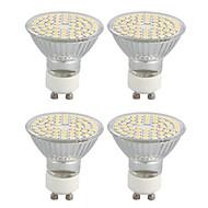 4 Pcs GU10 4W 60 SMD 3528 Warm White LED Spotlight AC 220-240 V