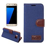 For Etuier Pung Kortholder Med stativ Flip Heldækkende Etui Helfarve Hårdt Tekstil for SamsungS8 S8 Plus S7 edge S7 S6 edge plus S6 edge