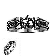 sencilla generosa anillo de estilo retro no de los hombres de piedra decorativa de acero inoxidable (negro) (1 unidad)